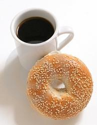 black coffee and sesame bagel