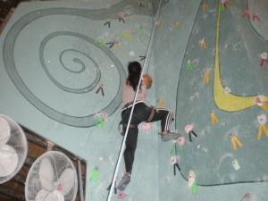 Littlest rock climbing at the Phoenix Rock Gym in Tempe, Arizona