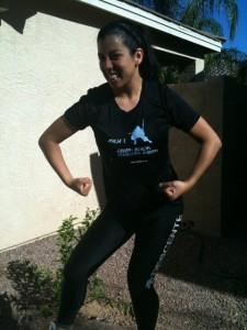 LittlestMartha flexing muscles before Warrior Dash AZ