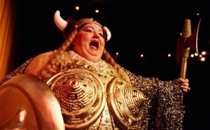 Viking lady singing opera
