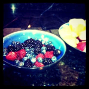 A bowl of blueberries, raspberries and blackberries to make juice.