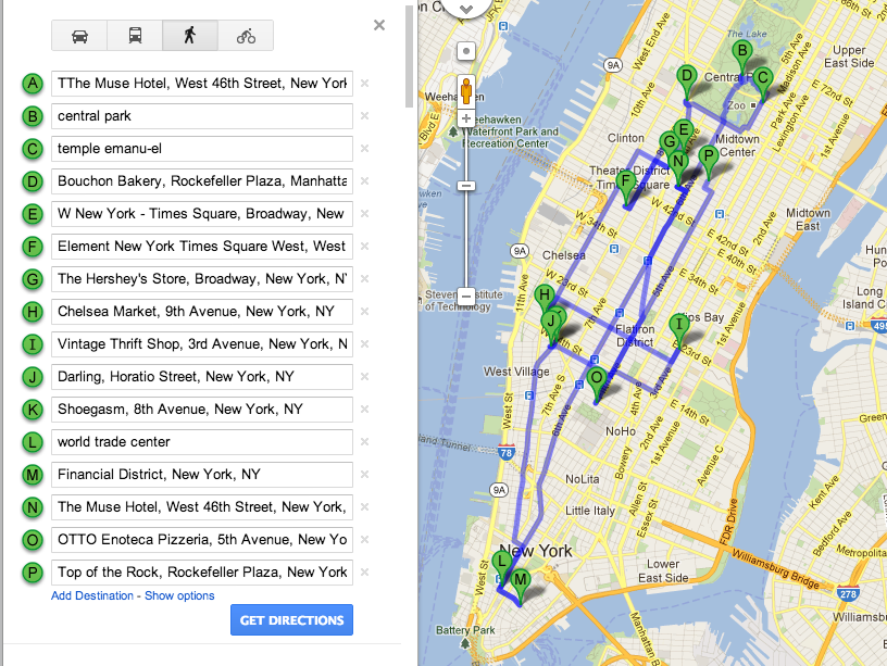 Google Maps walking directions around New York City
