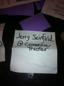Jerry Seinfield at Comerica Theater note