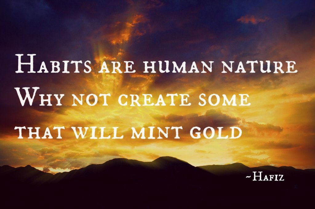 Inspiration quote by Hafiz over a golden sunrise