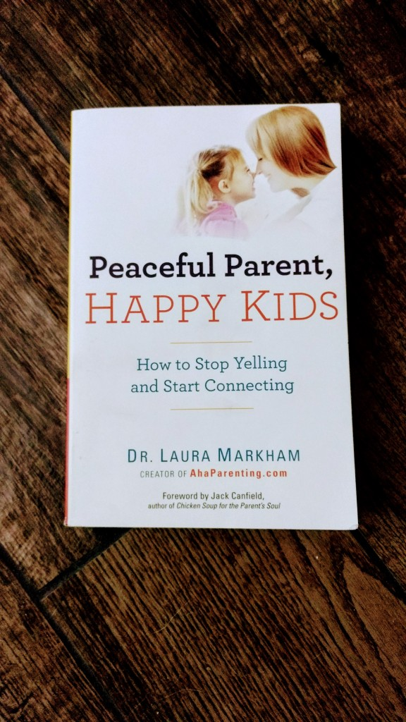 """Peaceful Parent, Happy Kids"" book on hardwood floor"
