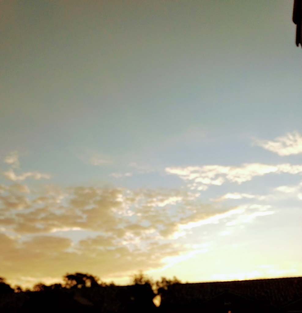 Bright sunrise over rooftops